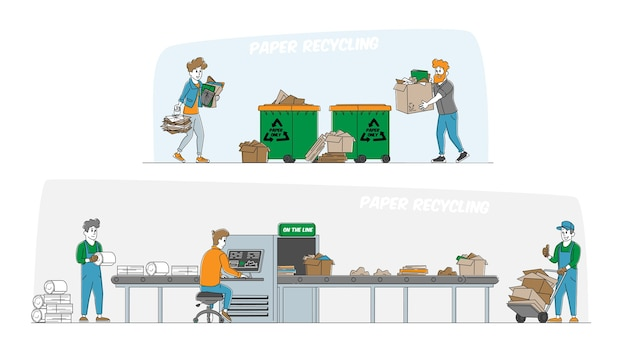 Recycle and segregation of paper and cardboard trash concept