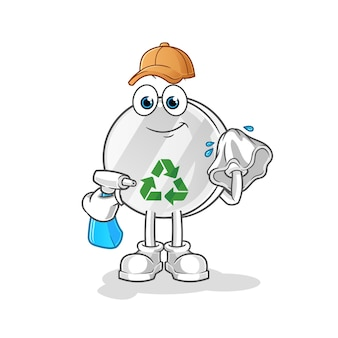 Recycle sign cleaner illustration