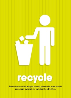 Recycle sign over green background vector illustration