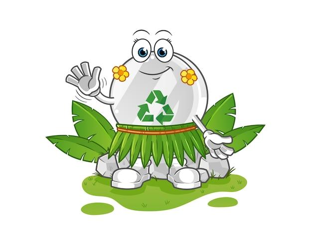 Recycle sign hawaiian waving character illustration