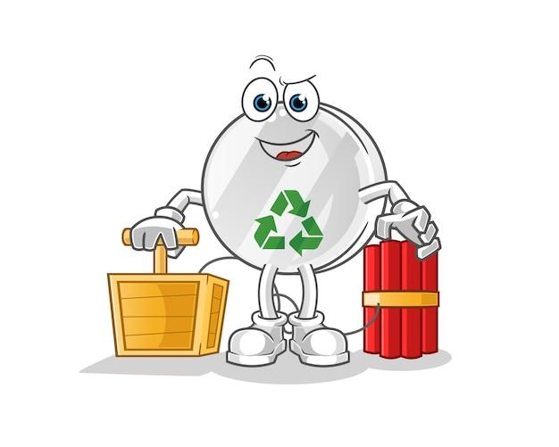 Recycle sign holding dynamite detonator character illustration