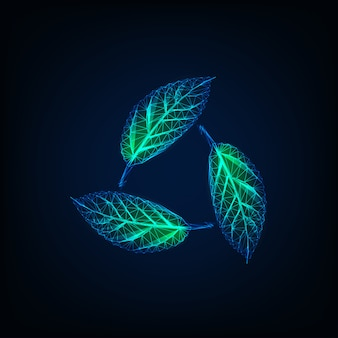 Recycle sign made of glowing transparent green leaves. natural sustainable resources symbol.