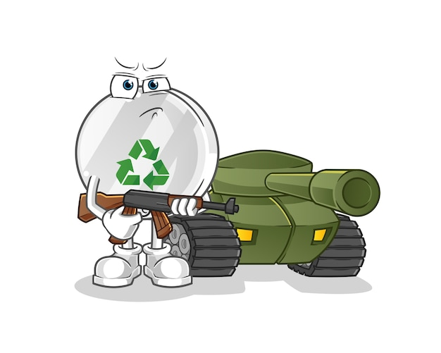 Утилизируйте знак солдата с иллюстрацией персонажа танка