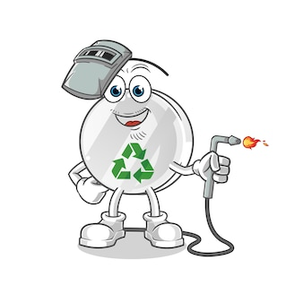Recycle sign welder mascot illustration