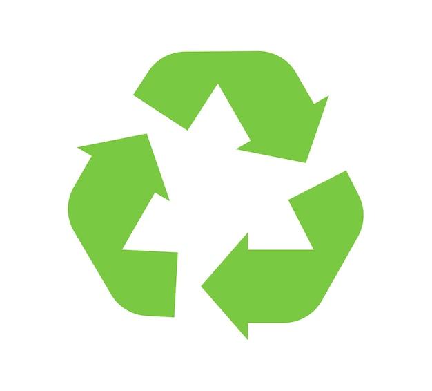 シンボルの緑色の三角形の矢印をリサイクルします。ベクトルイラストスタイルはフラットシンボル、緑色、丸みを帯びた角度、白い背景です。