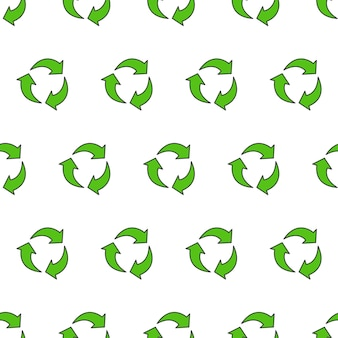 Recycle triangle seamless pattern on a white background. eco green recycled icon vector illustration