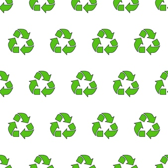 Recycle triangle seamless pattern on a white background. eco green recycled theme vector illustration