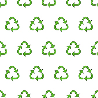 Recycle triangle seamless pattern on a white background. eco green recycled vector illustration