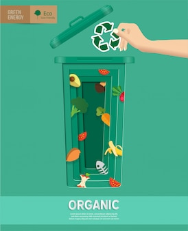 Recycle waste bins infographic in paper cut