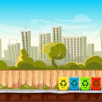Рециркулируйте мусорные баки с предпосылкой городского пейзажа. концепция управления отходами. утилизировать мусорное ведро, разделительный и сортировочный контейнер.