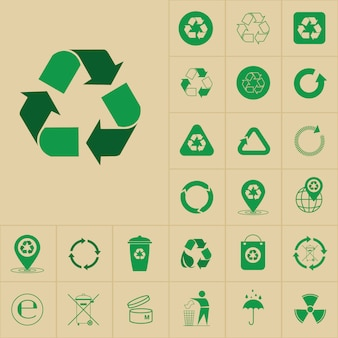 Recycle waste symbol green arrows logo set web icon collection
