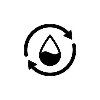 リサイクル水のアイコン。 2つの同期矢印付きの水滴。単一の黒い丸い液体リサイクルアイコン。プラネットバイオプロテクションサークルフラットデザイン