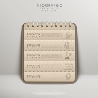 Recycled paper notebook for education infographic element design