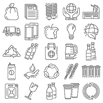 Recycles icon set. outline set of recycles vector icons