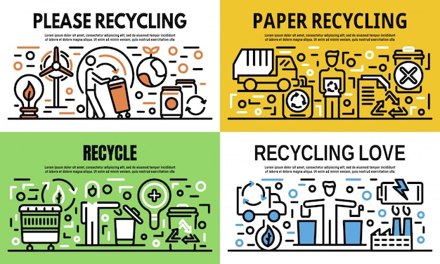 Recycling banner set, outline style