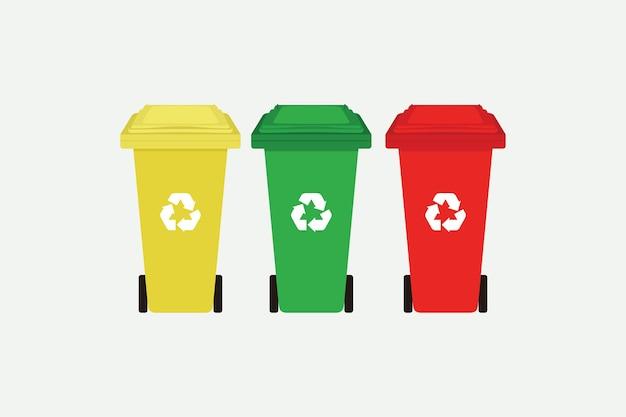 평면 스타일 벡터 일러스트 디자인으로 분리된 재활용 기호가 있는 노란색, 녹색 및 빨간색 재활용 쓰레기통