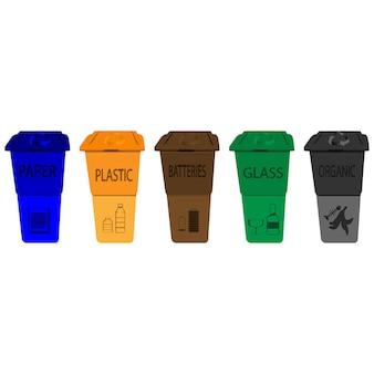 재활용 통. 분류된 쓰레기 벡터 아이콘이 있는 쓰레기통의 쓰레기입니다. 분류된 쓰레기가 있는 쓰레기통 세트입니다. 유기, 플라스틱, 종이, 유리, 배터리