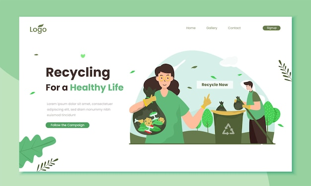 Recycling campaign for a healthy life illustration on landing page template
