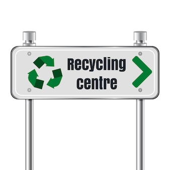 Recycling center road pointer sign