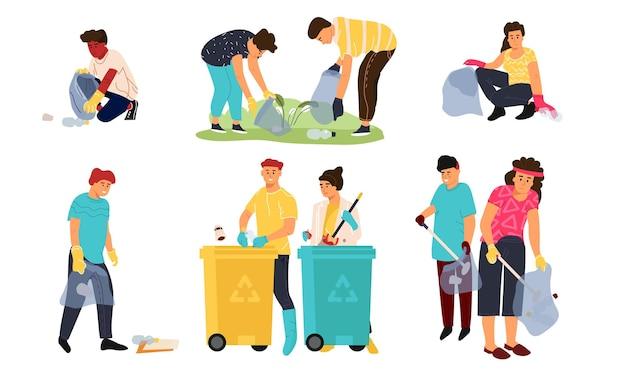 Переработка персонажей. мультяшные мужчины, женщины и дети собирают мусор в контейнеры для сортировки и переработки. векторные иллюстрации