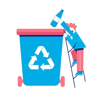 Recycling concept. man putting plastic bottle to a trash can.  illustration.