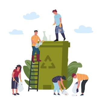재활용 개념입니다. 사람들은 쓰레기 재활용, 플라스틱 쓰레기 분류, 폐기 제품에 종사하고 있습니다.