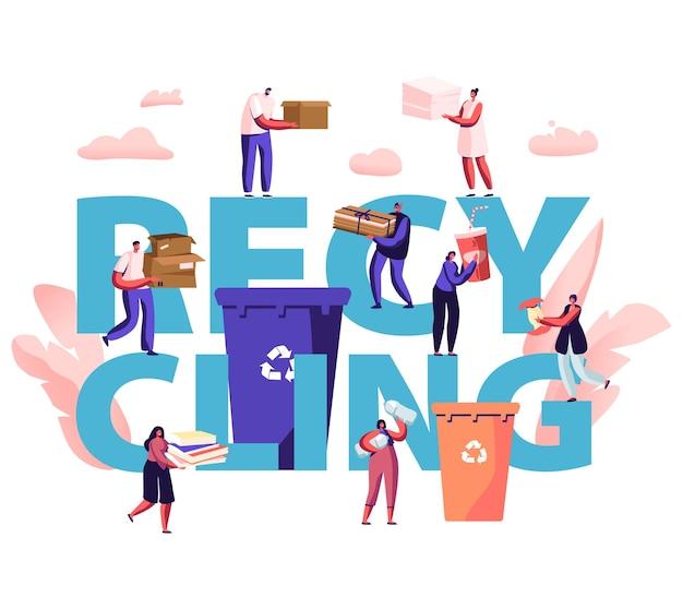 재활용 개념. 사람들은 재활용 기호로 쓰레기를 용기에 던집니다. 쓰레기를 수집하는 도시 거주자. 만화 평면 그림