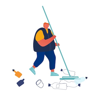 リサイクル、エコロジー保護の概念。地面からゴミを取り除く男。