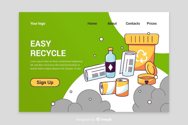Recycling garbage landing page template