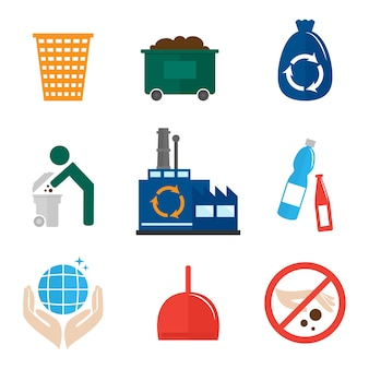 Recycling icons collection