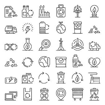 Recycling icons set, outline style