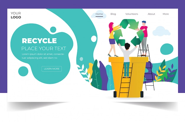Recycling landing page template