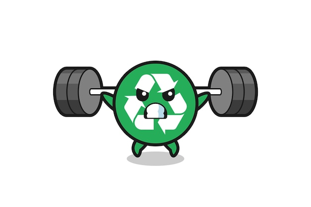Recycling mascot cartoon with a barbell , cute design
