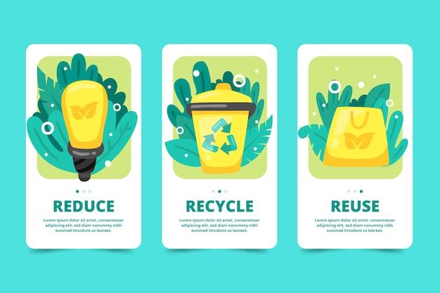 Recycling onboarding app screens