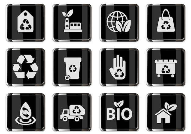 Recycling pictograms in black chrome buttons. icon set for user interface design