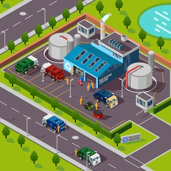 Recycling plant isometric illustration