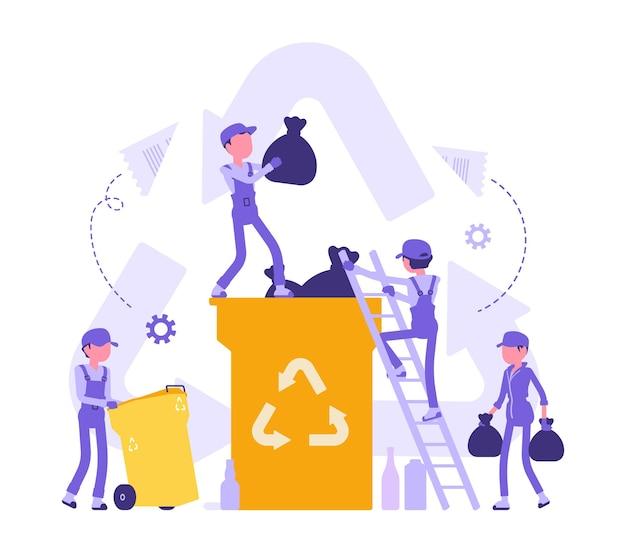 Процесс переработки, преобразование отходов в материал многократного использования. группа молодых людей собирает и меняет старую бумагу, стекло, пластик, занимается волонтерством. абстрактные векторные иллюстрации с безликими персонажами