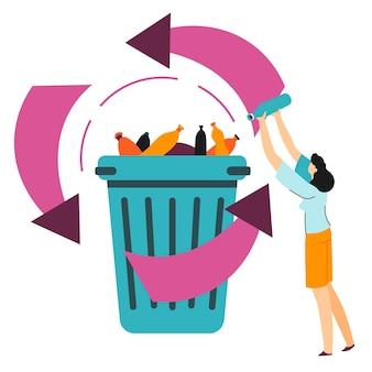 지구를 구하기 위한 재활용 과정, 폐기물에 대처하는 생태학적 방법. 쓰레기통의 플라스틱 쓰레기, 부피가 큰 품목이나 쓰레기를 분리합니다. 세계 오염 및 처리, 평면 스타일의 벡터