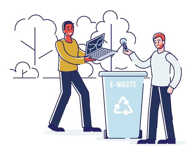 Переработка, сохранение экологии и отсутствие отходов. люди выбрасывают электронные отходы в корзину. мужчины бросают сломанный ноутбук и лампочку в мусорный бак. плоский контур мультяшныйа.