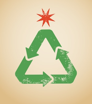 Recycling symbol shaped as a christmas tree.  illustration