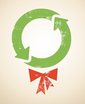 Recycling-themed christmas background for banner or poster