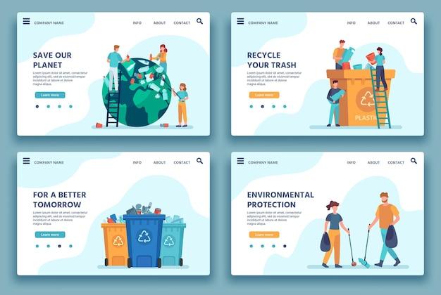 Целевая страница утилизации мусора. люди собирают и сортируют мусор на переработку. эко образ жизни. снизить вектор загрязнения окружающей среды веб-сайта. сбор иллюстраций и сортировка хлама
