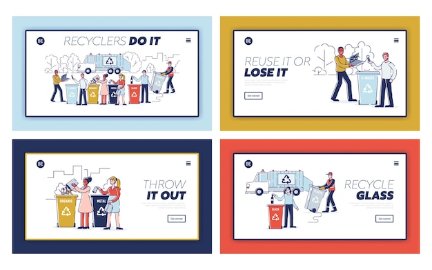 Recycling waste concept. website landing page set. people are sorting garbage and throwing trash into appropriate recycle bins. set of web pages cartoon outline flat s.