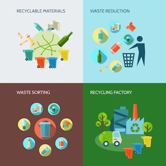Recycling and waste reduction icons set with materials and sorting flat