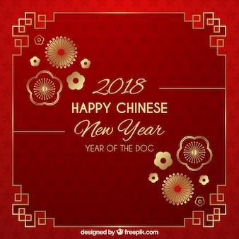 Красный и золотой китайский фон нового года