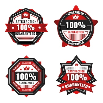 Red 100% guarantee label collection