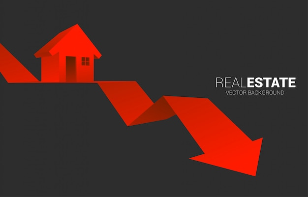 Red 3d home icon on falling down arrow.