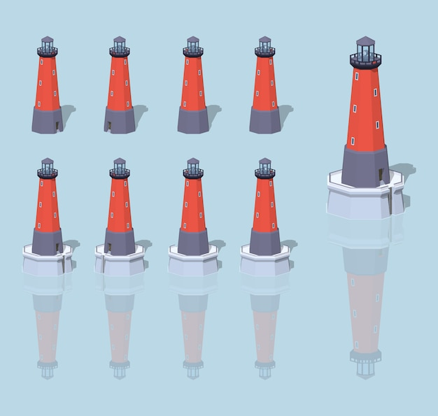 Red 3d lowpoly isometric lighthouse
