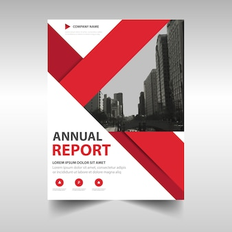 Red abstract annual report template