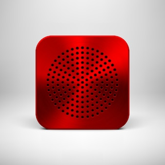 Red abstract app icon button template with metal texture Premium Vector